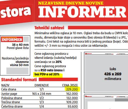 Cenivnik Informer