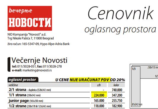 Cenovnk V. Novosti