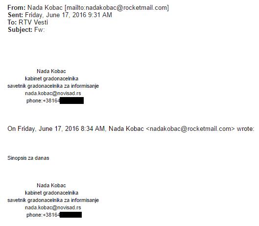 Nada Kobac email RTV