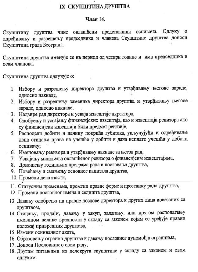 Nadleznost Skupštine Arene Beograd doo